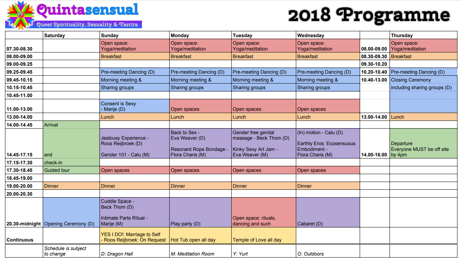 Quintasensual 2018 programme